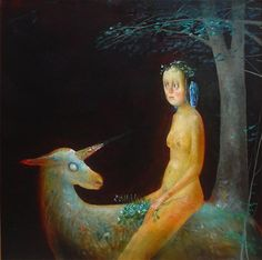 The Unicorn in the Forest, 2005 by Stefan Caltia. The Last Unicorn, Magic Realism, Popular Artists, Unicorn Art, Famous Art, Art Database, Surreal Art, Musical, Black Backgrounds