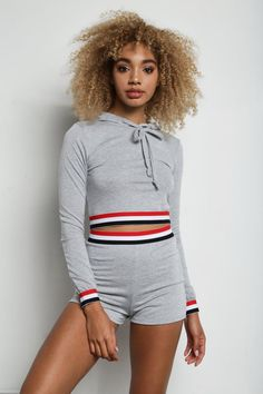 STYLE # 181949 Web Exclusive BOLD RACE JUNIORS STRIPED SHORTS + HOODIE SET $34.99 Athleisure Trend, Athleisure Fashion, Striped Shorts, Make Your Own, Hoodies, Stylish, Sweaters, Sweatshirts, Parka