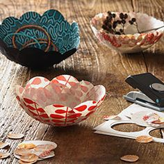 Paper Mache bowls with pretty paper! Sculpture and 3D art
