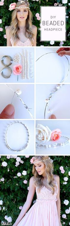 Festival Hair Tutorials - DIY Beaded Headpiece - Short Quick and Easy Tutorial Guides and How Tos for Braids, Curly Hair, Long Hair, Medium Hair, and that Perfect Updo - Great Ideas for That Summer Music Edm Show, Whether It's A New Hair Color or Some Awesome Accessories and Flowers - Boho and Bohemian Styles with Glitter and a Headband - thegoddess.com/festival-hair-tutorials