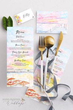 This micro wedding at The Reeds in Stone Harbor, New Jersey features a custom painting of the sunset view from the wedding venue on the menu. The couple was getting married on a pier at sunset so that was painted on a folded program with the livestream information and program text inside—this program was then mailed to virtual guests. Wedding menu, program and place cards painted by Hand-Painted Weddings. #placecards #weddinginspo #beachwedding Destination Wedding Invitations, Watercolor Wedding Invitations, Wedding Menu, Wedding Stationary, Rustic Wedding, Wedding Planning, Mini Mousse, Hand Painting Art, Unique Weddings