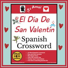 "Teach El Día de San Valentín with our fun Spanish Valentine's Day Activities. This Valentine's Day lesson plan has Spanish puzzles, comic strip templates, and color pdf slides that celebrate ""El Día de Amor y Amistad!"" #SPEAKMORESPANISH Spanish Words, English Words, Spanish 1, Comic Strip Template, Comic Strips, Vocabulary Builder, Vocabulary Words, Spanish Lesson Plans, Spanish Lessons"