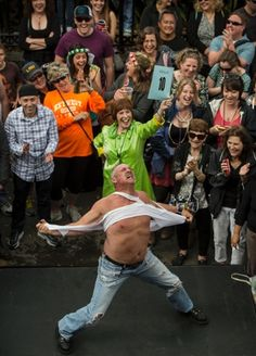 A competitor performs in the Tennessee Williams Literary Festival's annual Stanley and Stella Shouting Contest, a tribute to Marlon Brando in A Streetcar Named Desire.
