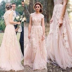 Charming Pink Lace Sexy V-neck Long Sheath Tulle Wedding Party Dresses, WDY0113