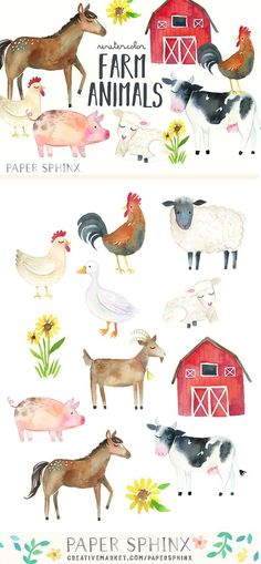 Watercolor Farm Animals Clipart Pack by PaperSphinx on @creativemarket