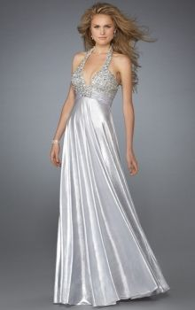 Silver Sheath/Column Halter Empire Long/Floor-length Sleeveless Crystal,Draped Elastic Silk-like Satin Backless Prom Dresses Dress