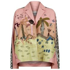 Valentino Embroidered Leather Jacket (219.614.170 VND) ❤ liked on Polyvore featuring outerwear, jackets, pleated jacket, embellished jacket, embroidered jacket, embroidery jackets and genuine leather jackets