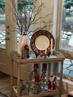 Christmas Tea Cart Vignette