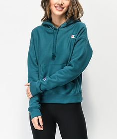 Provide your hoodie collection with an upgrade in comfortable style with the Champion Reverse Weave jade green hoodie. This entirely dark green constructed hoodie features a C logo embroidered to the left chest for subtle branding and the fleece interior Green Champion Hoodie, Champion Hoodie Women, Hoodie Outfit, Sweater Hoodie, Sweatshirt, Champion Clothing, Stylish Hoodies, Cute Comfy Outfits, Comfortable Fashion