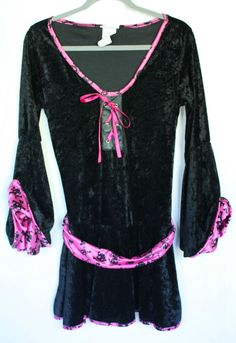 Get it at Bad Reputation! #BlackVelvet #Top w/Pink Satin Belt & Trim, Long Flair Sleeves #CaliforniaCostumeCollections #TopsShirts #Halloween #Costurme #Spooky #Witch #Velvet