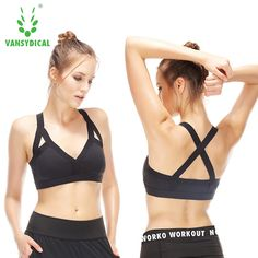 Vansydical Sexy Sports Bra Women's Fitness Running Push Up Shockproof Underwear Training Vest Yoga Bras Stanik Sportowy ** AliExpress Affiliate's buyable pin. Click the VISIT button to view the details on www.aliexpress.com #Yogawears