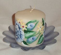Scented pillar candle  hand painted by EnchantedRoseProduct, $6.50
