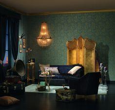 Creation Bohemian burlesque Petrol blue Damask Metallic effect Embossed Wallpaper Small Living Room Decor, Home Decor Accessories, Moody Interior Design, Home Decor, House Interior, Dark Interiors, Interior Design, Master Bedrooms Decor, Modern Chic Design