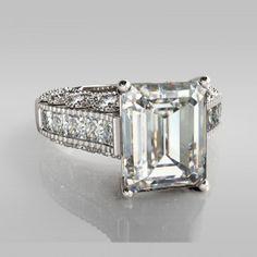 Emerald Cut Created White Sapphire Rhodium Plated Women's Engagement Ring