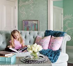 So Pretty  Pale Aqua Beautiful, Elegant Tufted Sofa, Just Perfect!