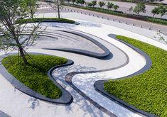 ASPECT Studios creates a landscape of many facets scales and experiences Gemdale Wuhan China 金地集团 武汉 Landscape Model, Landscape Elements, Modern Landscape Design, Landscape Concept, Landscape Architecture Design, Garden Landscape Design, Landscape Plans, Modern Landscaping, Contemporary Landscape
