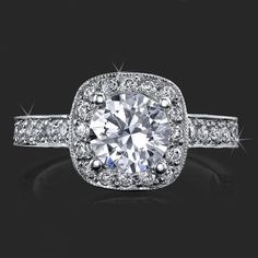 .75 ctw. Halo and Millegrain Micro Pave 4 Prong Engagement Ring Top View