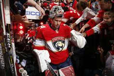 SUNRISE, FL - FEBRUARY 3: Goaltender James Reimer #34 of the Florida Panthers heads out to the ice for warm ups prior to the start of their game against the Anaheim Ducks at the BB&T Center on February 3, 2017 in Sunrise, Florida. (Photo by Eliot J. Schechter/NHLI via Getty Images)