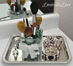 Lewisville Love: Organized (and pretty) Make up Brushes.  Dollar Tree decorating