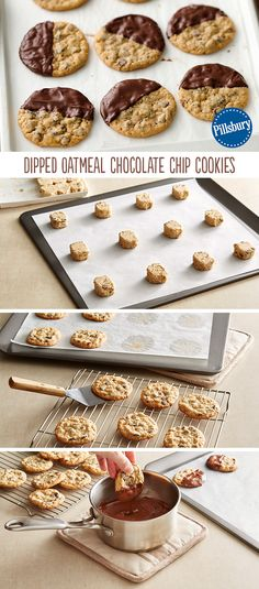 Home-baked oatmeal cookies get a sweet touch from a quick chocolate dip. The technique works equally well with sugar cookies! Try this to add an extra fun element for any party or get-together.