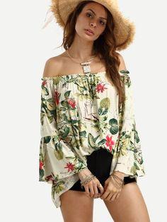 Off The Shoulder Bell Sleeve Floral Print Top