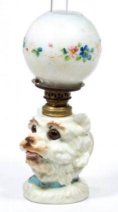 Terrier Figural Miniature Finger Oil Lamp. Antique Oil LampsVintage ...