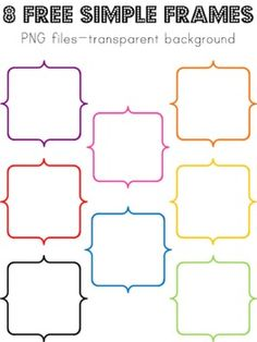 Here's a set of 8 simple colored frames for creating resources for instruction.