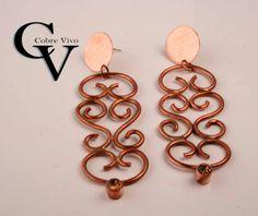 Aros de cobre con circón #joyasdecobre