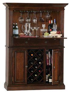 Howard Miller Seneca Falls Wine Storage Bar - Wine Furniture at Hayneedle Wine Bar Cabinet, Wine Cabinets, Liquor Cabinet Furniture, Wine Furniture, Home Bar Designs, My Home Design, House Design, Home Wine Bar, Mini Bars