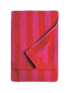 Nimikko bath towel by Marimekko Marimekko, Hall Cupboard, Soft Furnishings, Bath Towels, Bathroom Accessories, Red And Pink, Interior Decorating, Design, Home Decor