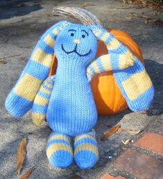 Knitting Pattern for Fibonacci Bunny - Fibonacci Bunny is a cute whimsical toy that makes use of the Fibonacci Sequence for the stripes.Fibonacci Bunny is 14 inches tall. Designed by Julie L. Anderson. Pictured project by giraffadae