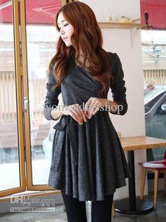 Wholesale Mini Dress - Buy Casual Deep Gray Pleated Long Sleeves Cotton Mini Dress #u7-1hDm, $17.88 | DHgate