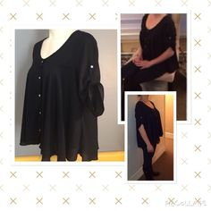 Pretty Dark Blue Top flowing If this was my size it would not be on here I love this shirt! Hangs so pretty with sliver toned hardware and sleeves that can be worn up or down. In excellent condition. Rue 21 Tops
