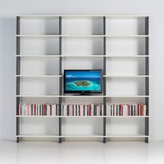NIKKA Shelving system and modular bookcases uk for home office . The composition photographed measure cm. 270 x 258 h x 30. It consists of 20 shelves, 24 RED PVC reinforced sidewalls.  The shelves are particle board covered with a scratch-resistant laminated white melamine with ABS edging to 1 mm. Shelves measure cm.90 x 30 x 2,5 thick more info http://www.piarotto.com/en/negozio/nikka/nikka-e9tvk-blackcm-270x258h-x30/ #shelves #boocase #bookshelves #homeoffice #shelving