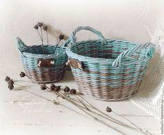 Плетеные корзиночки, набор. Бирюзовый и серый.