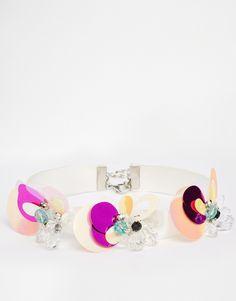 ASOS Sequin Flower Choker Necklace