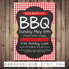 BBQ INVITATION! DIY Printable digital file! Customized for you! Invite your friends and family to a summer bbq with this super cute card!