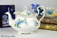 Royal Albert Forget Me Not Victorian Shaped Teapot with Pattern on Spout, Full Sized English Bone China Teapot, ca. Tea Pot Set, Cup And Saucer Set, Tea Cup Saucer, Tea Cups, China Teapot, Tea Service, Antique China, Royal Albert, Flower Decorations