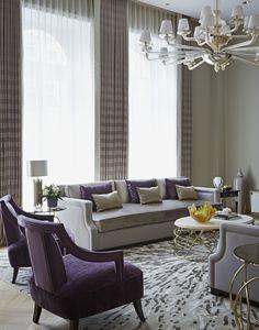 20 Dazzling Purple Living Room Designs - Alexa Home Decor Purple Living Room Furniture, Plum Living Rooms, Silver Living Room, Contemporary Living Room Furniture, Elegant Living Room, Beautiful Living Rooms, Living Room Grey, Living Room Modern, Living Room Interior