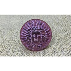 Purple Vintage Button Ring ($10) ❤ liked on Polyvore featuring jewelry, rings, frances and rescuedofferings