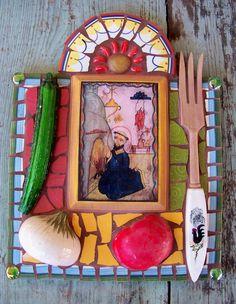 San Pasqual Kitchen Saint Mosaic Retablo by NatalieBacaStudio