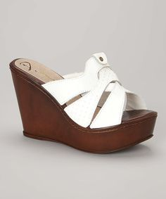 Love this White Quilt Pattern Leather Wedge Sandal by Passarela Brazil on #zulily! #zulilyfinds