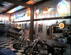 Harley Davidson man cave ideas - I like the metal walls