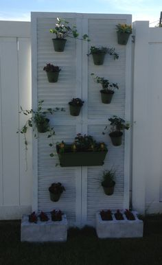 Thanks to Pinterest for inspiration. Old bifold closet doors used to hide a gap in neighbor's fence and hang plants. Sanchezfirsthome@blogspot.com