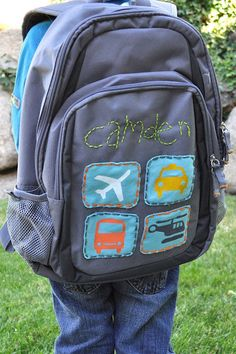 Back to School Backpack LOVE THE IDEA OF A BACKPACK MAKEOVER, NOT SURE ABOUT THE CHILD'S NAME THOUGH, THAT'S NOT A GOOD TOOL FOR STRANGERS.