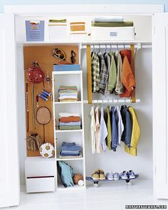 Kids' Closets - peg board in back is a good idea for any closet, hang jewelry, belts, scarves...