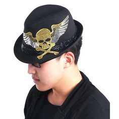 Black Studded Sequin Skull Punk Rock Emo Fashion Dress Fedora Hat SKU-71108134