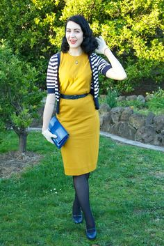 outfit: navy stripes and mustard wiggles. vintage dress
