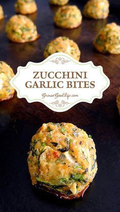 Use pork rinds instead of bread crumbs. This tasty zucchini garlic bites recipe combines shredded zucchini with garlic, Parmesan cheese, fresh herbs, and is served with a marinara dipping sauce for an Italian inspired twist. Vegetable Recipes, Vegetarian Recipes, Cooking Recipes, Healthy Recipes, Healthy Meals, Cooking Tips, Heart Healthy Snacks, Vegetarian Meatballs, Dishes Recipes