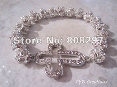 New Charm Fashion Honesty Bracelet Silver Plating Handmade Rhinestones Side Ways Sideways Cross Bracelet Gift Jewelry Finding on AliExpress.com. $28.89